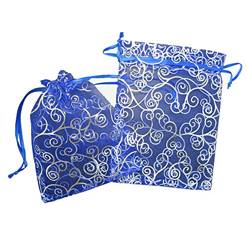 50 Organza Gift Bags Blue with Silver Details, 7 X 5