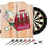 Coca Cola Vintage 6 Pack Bottle Design Deluxe Solid Wood Cabinet Complete Dart Set - Choose Color RED