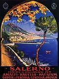 SALERNO AMALFI RAVELLO PAESTUM TRAVEL TOURISM EUROPE ITALY ITALIA SMALL VINTAGE POSTER REPRO