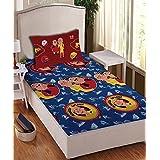 Motu Patlu- Athom Trendz- Cotton Single Bed Sheet Set- Blue