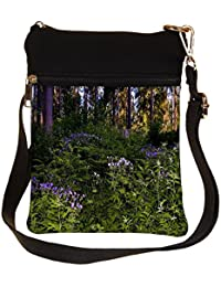 Snoogg Green And Purple Plants Cross Body Tote Bag / Shoulder Sling Carry Bag