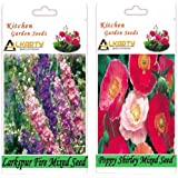 Alkarty Larkspur Fire Mixed And Poppy Shirley Mixed Seeds Pack Of 20 (Winter)
