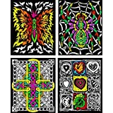 4-Pack Of Fuzzy Velvet Folders - Fire Butterfly, Cross, Hearts And Spider
