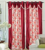 "Hargunz Eyelet Chiku Flower U Polyester Door Curtains - 84""x48"", Pack of 1 Curtain, Red (KS058-1-2)"