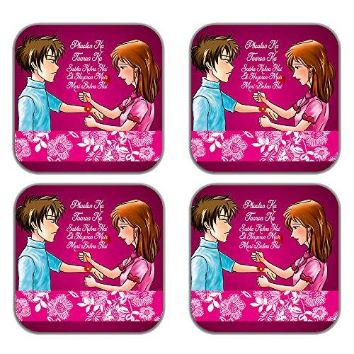 MeSleep Rakhi Wooden Coaster-Set Of 4 - B013LELC0S