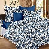 Story @ Home 186 TC 100% Cotton Flower Print Designer Premium Elegant Double Bedsheet With 2 Pillow Covers - Blue