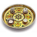 Shree Sai Handicrafts Steel Meenakari Work Shubh Laabh Decorative Pooja Thali (27.94 Cm, Silver)