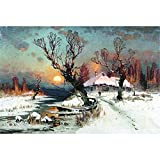 Mutong Toys Adult 1000-piece Puzzle Ink Painting Style Wooden Jigsaw Puzzles ST027-Sunset Snow