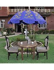 Lalhaveli Rajasthani Handmade Embroidered Sun Protection Garden Umbrella Parasol 52 X 72 Inches
