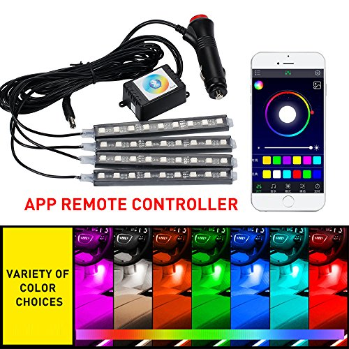 Mihaz 4pcs 7 Colors 48 LED Interior Lights Strip for Car Underdash Lighting Kit with Sound Active Function and APP Remote Control