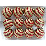 Queens Of Christmas WL-ORN-12PK-REGO 12 Pack Ball Ornament With Gold Glitter Line Design, Red