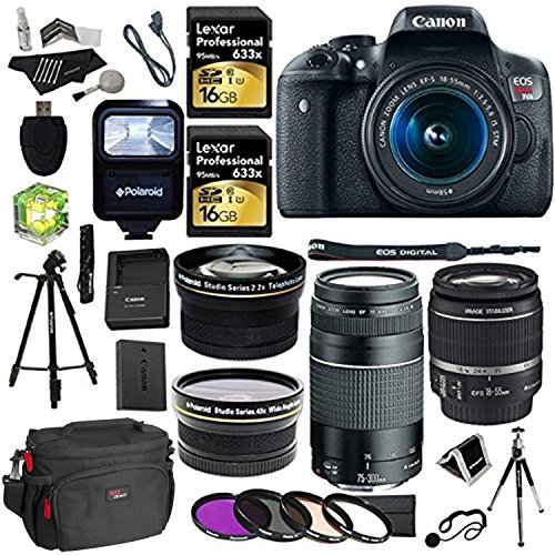 Canon EOS Rebel T6i 24.2 MP Digital SLR Camera with 18-55mm STM Lens + Canon EF 75-300mm f/4-5.6 III Lens + Polaroid .43x High Definition Wide Angle Lens With Macro Attachment + Polaroid 2.2X High Definition Telephoto Lens Travel Kit + Lexar Professional 32 GB Storage + Polaroid Tripod + Deluxe Accessory Kit