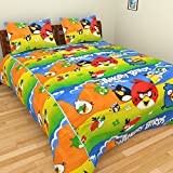 SS SALES 100% Cotton Kids Cartoon Angry Bird Printed Double Bedsheet With 2 Pillow Covers