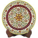 Style Souk White Marble Decorative Plates Meenakari Designe Plate With Stand Set Of 1 Pcs
