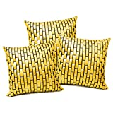 YELLOW LEATHER BRICKS CUSHION COVER 3 PCS SET (40 X 40 CMS)
