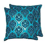 House This Darbaar-Buti Blue Set Of 2 Cushion Covers- 16 X 16