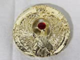 Indiana Jones Staff of Ra, Egyptian Headpiece, Shiny Plated Gold, Solid Metal, Red Jewel