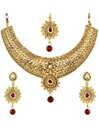 Zeneme Wedding Collection Gold Plated Choker Necklace, Earring & Mangtika For Women/Girls