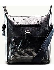 Twach Sail Leather Cross Body Leather Bag (Black)