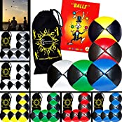 5x Pro Thud Juggling Balls Deluxe (Leather) Professional Juggling Ball Set Of 5 + Mister Babache Ball Juggling...