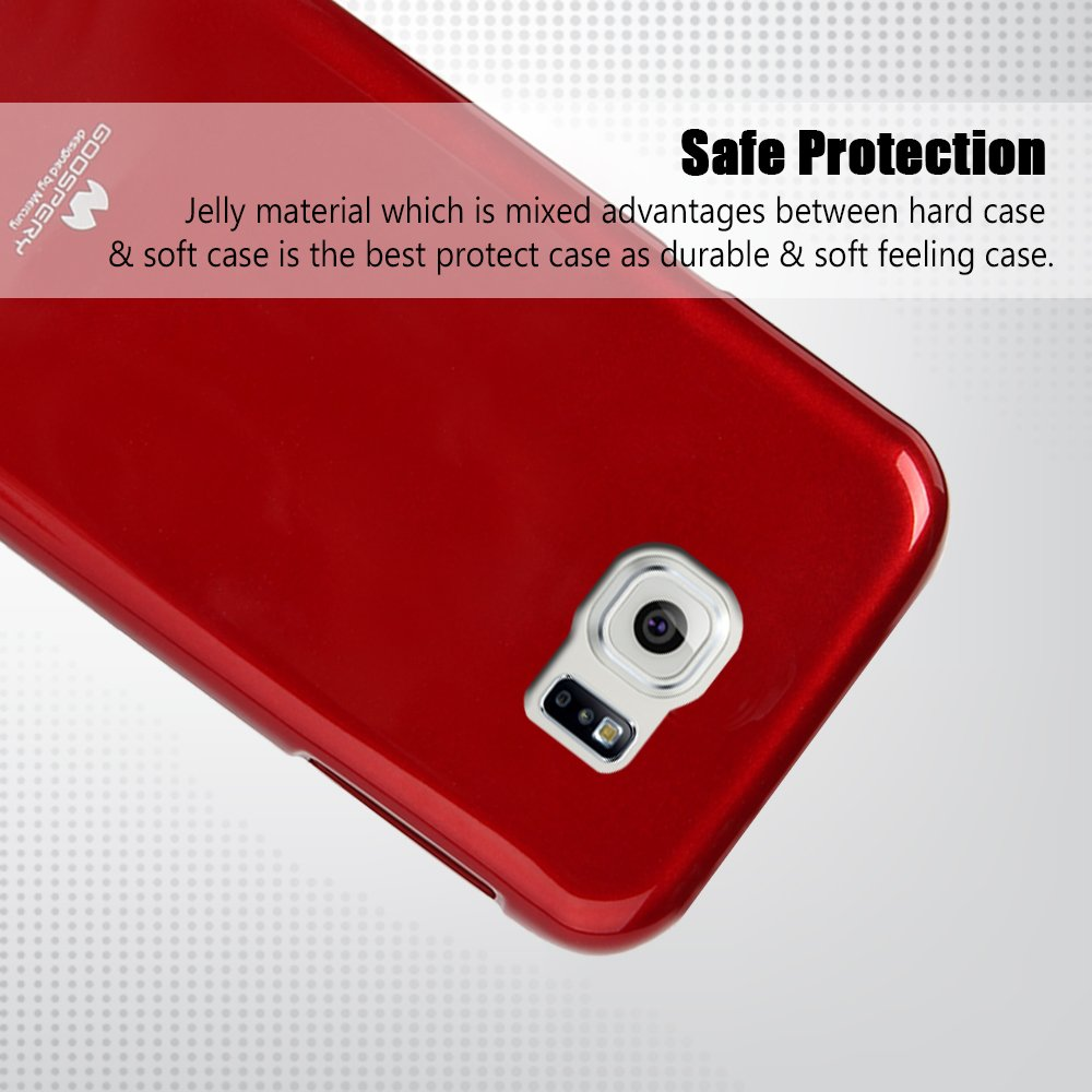 Galaxy S6 Edge Genuine Mercury Goospery Metallic Red Soft Jelly Case Pearl All Type Special  Blue Optional Screen Guard Or Tempered Glass Protector Available For