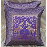 CRAFT OPTIONS SILK BROCADE CUSHION COVERS (2 PIECES PURPLE COLOR)