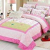 Brandream Pink Polka Dot Stripe Quilt Set Kids Owl Bedding Set Twin Size