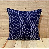 "Dark Blue Throw Pillow Cover Cotton Cushion Embroidered Geometric Pattern Bohemian Moroccan Standard Size 16""X..."