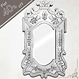 IndianShelf Handmade Vintage New Design Decorative Clear Glass Wood And Iron Venetian Mirror 48 Inches X 29 Inches