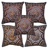 Lalhaveli Mirror Work Design Handmade Embroidery Cotton Pillow Cushion Cover Set Of 5 Pcs 16x16 Inches