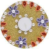 Ishu's Creation Wax, Quelling Paper & Pearls Decorative Tealight Candle (12 Cm X 12 Cm 2 Cm, Golden, Ish2_1,)