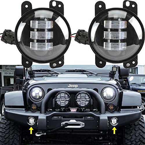 Sunpie 2015 New 2pcs 4 Inch 30w Cree Led Fog Lights Len Projector for Jeep Tractor Boat Led Fog Lamps Bulb Auto Led Headlight Driving Offroad Lamp for Jeep Wrangler Dodge Chrysler Front Bumper Lights