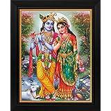 Lord Krishna / Shree Krishna / Shri Krishna With Radha / Radha-Krishna Poster With Frame (Size: 8.5x11 Inch)