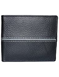 Style98 Black And Grey Genuine Leather Designer Wallet With Coin Pocket For Men - B017P5YA7Q