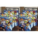 Renown Blue Doraemon Cartoon Prints Reversible Single Bed AC Blanket / Dohar Combo Set Of 2 Pc