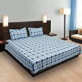 Bettzeug King Size Bed Sheet In Check Design Having Mix Shades Of Blue & White With Pillow Covers