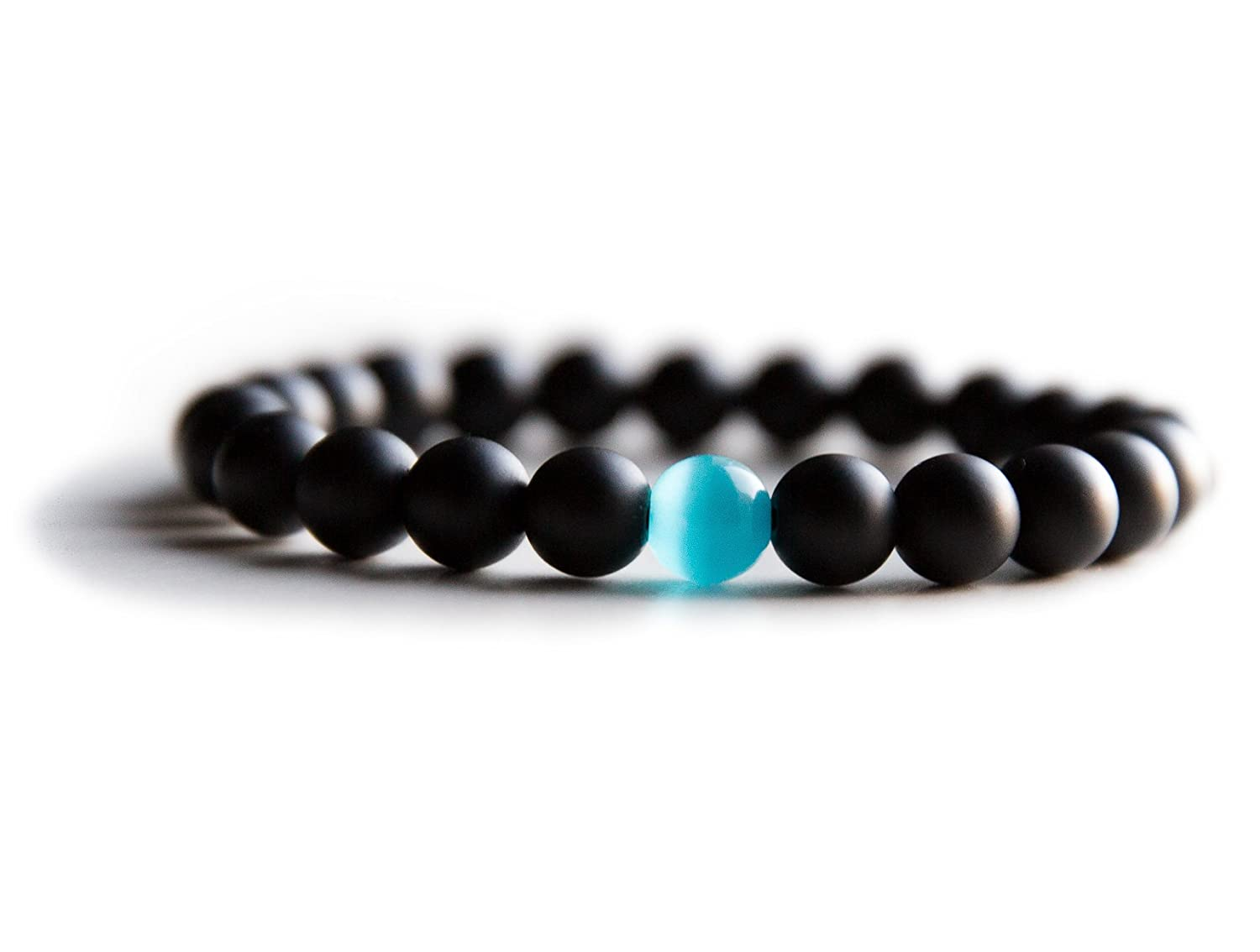 Mens Water Drop Bracelet - Semi-Precious Natural Stones (8mm) -...