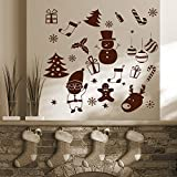 Decal Style Santa's Christmas Gifts Wall Sticker Small Size-15*15 Inch Color - Brown
