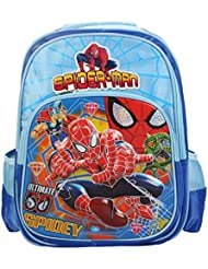 Belomoda Emboss Spider-Man Theme Printed Nylon School Bag - Blue