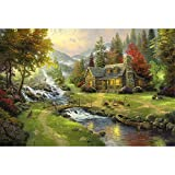 Mutong Toys Adult 1000-piece Puzzle Ink Painting Style Wooden Jigsaw Puzzles ST019-Bridges People