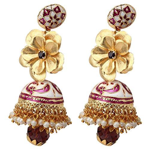 Aarya 24kt Gold Foil Flower Earring Jhumki For Women