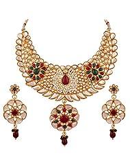 Variation Maroon & Green Kundan Necklace Set For Women