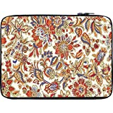 Snoogg Floral Pattern Cream 12 To 12.6 Inch Laptop Netbook Notebook Slipcase Sleeve