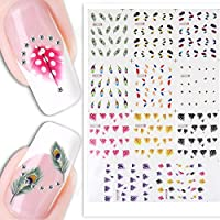 Sealike False Peacock Feather Nail Art Tips Nail Decal Stickers Nail Tattoo For Women Girls With Stylus