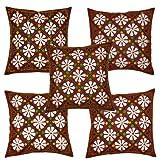 Rajrang Maroon Cotton Patch Work Cushion Cover Set Of 5 Pcs #Ccs01206