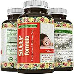 Natural Sleeping Pills for Women & Men - Extra Strength Aid for a Deep Sleep - Doctor Recommended Mg per Dosage - Pure L Theanine + Mucuna Pruriens, Gaba and Melatonin Formula - USA Made by California Products