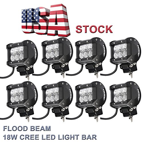 Topcarlight 4 Pairs 8 Pcs 4″ Inches Flood Beam 8 Degree Off Road Cree 18w LED Work Light Bar 4wd Boat UTE Driving ATV Car