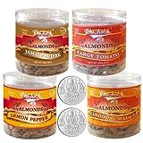 Chocholik Dry Fruits - Almonds Jamaican Jerk, Tandoori Masala, Tangy Tomato & Lemon Pepper With 5gm X 2 Pure Silver...