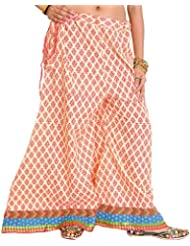Exotic India Casual Palazzo Pants From Pilkhuwa With Printed Leaves And Patch Bo