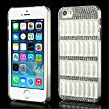 Generic Bling Bling Crystal Rhinestone Grid Hard Case For IPhone 5s 5 - White